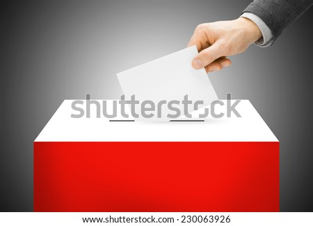 Voting concept - Ballot box painted into national flag colors - Poland - stock photo