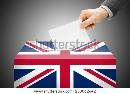 Voting concept - Ballot box painted into national flag colors - United Kingdom of Great Britain - stock photo