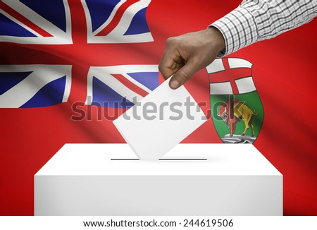 Voting concept - Ballot box with Canadian province flag on background - Manitoba - stock photo