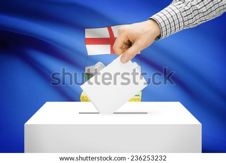 Voting concept - Ballot box with national flag on background - Alberta - stock photo