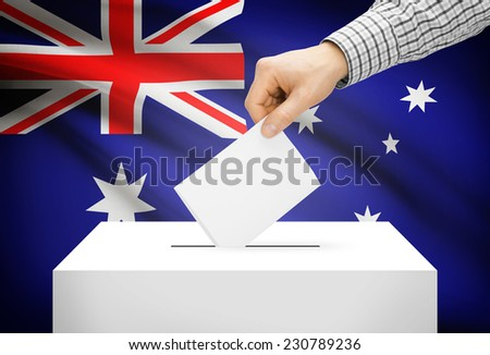 Voting concept - Ballot box with national flag on background - Australia - stock photo