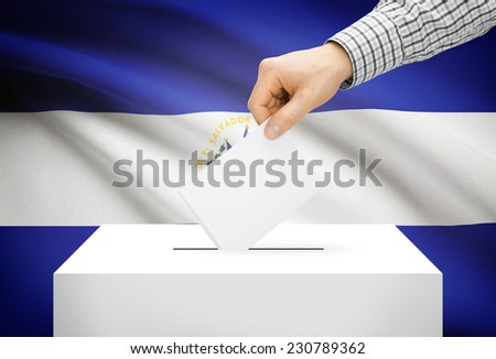Voting concept - Ballot box with national flag on background - El Salvador - stock photo