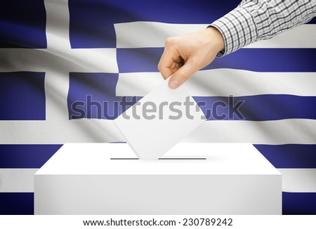 Voting concept - Ballot box with national flag on background - Greece - stock photo