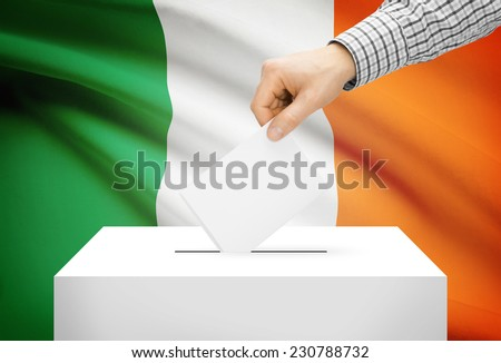 Voting concept - Ballot box with national flag on background - Ireland - stock photo