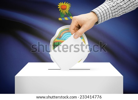 Voting concept - Ballot box with national flag on background - Kansas - stock photo