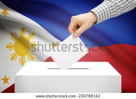 Voting concept - Ballot box with national flag on background - Philippines - stock photo