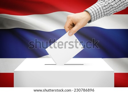 Voting concept - Ballot box with national flag on background - Thailand - stock photo