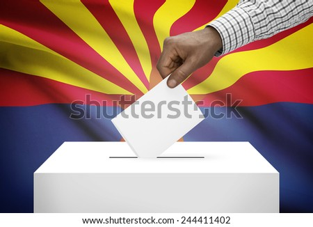 Voting concept - Ballot box with US state flag on background - Arizona - stock photo