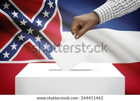 Voting concept - Ballot box with US state flag on background - Mississippi - stock photo
