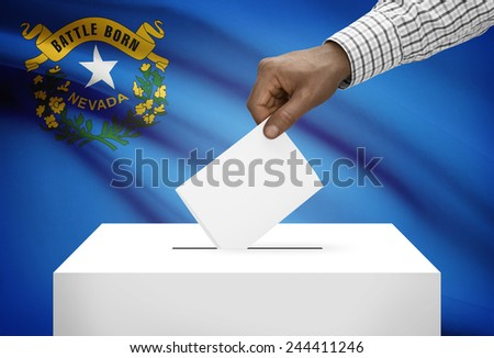 Voting concept - Ballot box with US state flag on background - Nevada - stock photo