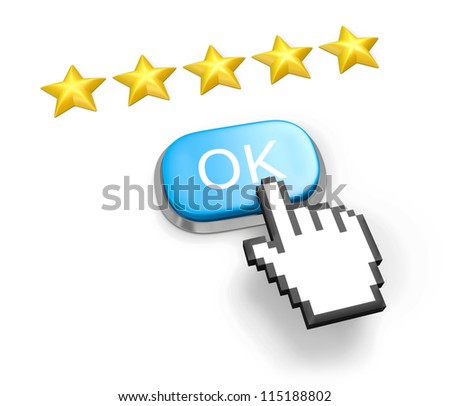 Voting concept. Rating five stars. Blue button OK, hand cursor. Isolated on white. - stock photo