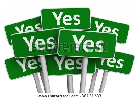 Voting concept: Set of green Yes signs isolated on white background - stock photo