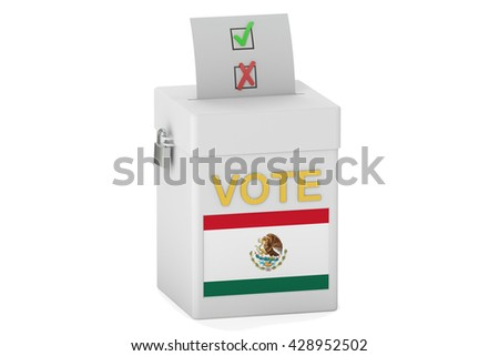 voting concept, with flag of Mexico on the ballot box. 3D rendering - stock photo