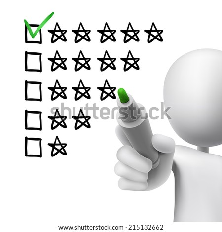 voting five stars by 3d man over white  - stock photo