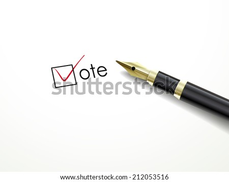 voting symbols with fountain pen over white paper - stock photo