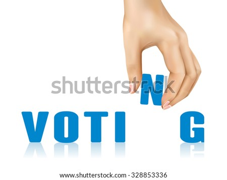 voting word taken away by hand over white background - stock photo