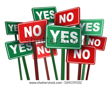 Voting yes or no with opposing and conflicting green and red campaign signs representing politics and important political issues that divide social opinion resulting in protest and demonstrations. - stock photo