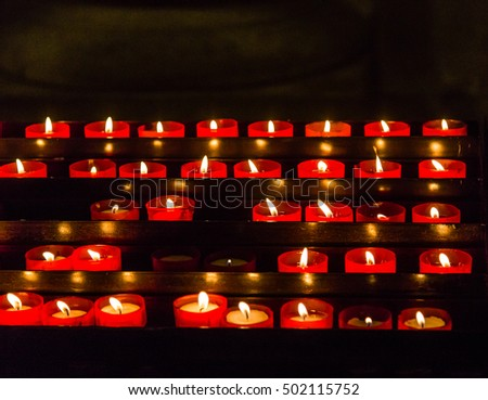 Votive Candles in old Lisbon Church
