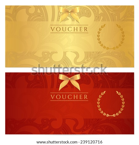 Voucher, Gift certificate, Coupon template. Floral, scroll pattern (bow, frame).  Red, gold background design for invitation, ticket, banknote, money design, currency, check (cheque), reward  - stock photo