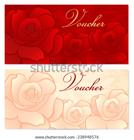 Voucher, Gift certificate, Coupon template with floral rose pattern (flowers). Red background for invitation, money design, currency, note, check (cheque), ticket, reward - stock photo