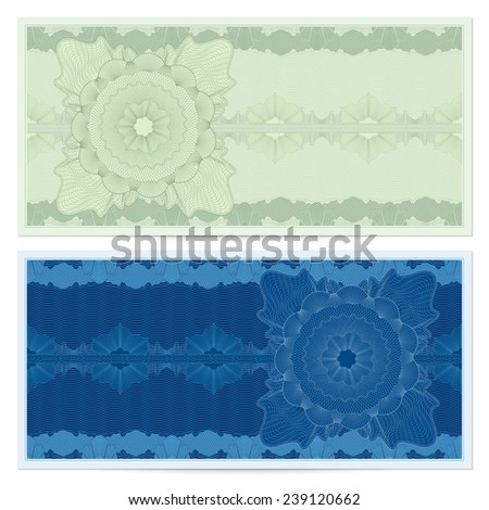 Voucher, Gift certificate, Coupon, ticket template. Guilloche pattern (watermark, spirograph). Green, blue background for banknote, money design, currency, bank note, check (cheque), ticket - stock photo