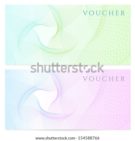Voucher, Gift certificate, template with colorful guilloche pattern (watermark, spirograph). Blank background for banknote, money design, currency, note, check (cheque), ticket, reward - stock photo