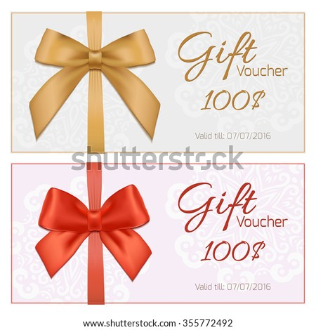 Voucher template with floral pattern, border, red and gold bow and ribbons. Design usable for gift coupon, voucher, invitation, certificate, diploma, ticket etc.