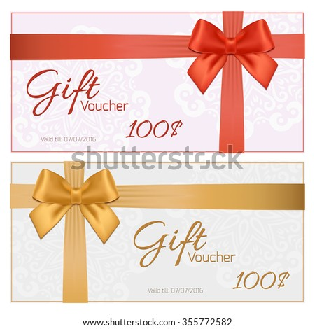 Voucher Template Floral Pattern Border Red Vector 127285922 – Coupon Voucher Template