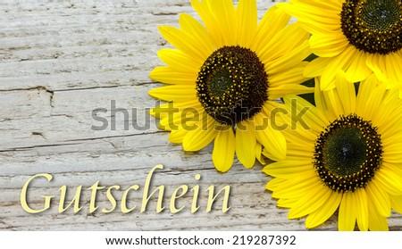 Voucher with Sunflowers/Voucher/english - stock photo