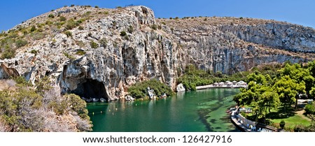 Vouliagmeni, Thermal Radonic Mineral Water Lake near Athen, Greece.  Just outside of Athens lies the geophysical rarity known as Lake Vouliagmeni.