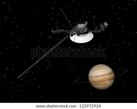 Voyager spacecraft near Jupiter and its unrecognized ring by night - Elements of this image furnished by NASA - stock photo