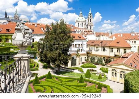 Vrtbovska Garden and Saint Nicholas Church, Prague, Czech Republic - stock photo