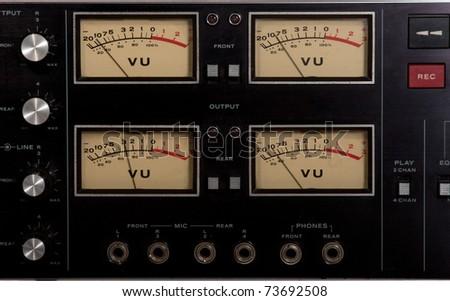 vu meter recording studio tape recorder record button - stock photo