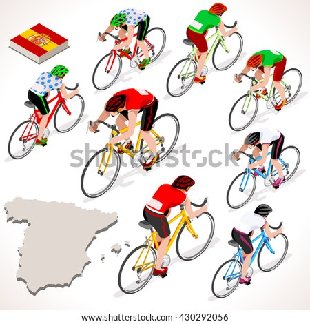 Vuelta de Espana. Spain racing cyclist group riding bicycle path. Flat 3D isometric people set of cyclist and bicycle icons. Isometric bicycle race Cycling icons. Winner Red Shirt. Winning Bicyclist - stock photo