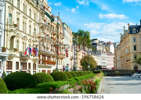 VUew of Old Town of Karlovy Vary, Czech Republic - stock photo
