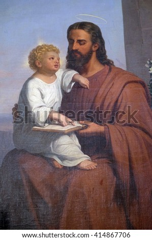 VUGROVEC, CROATIA - OCTOBER 02: Saint Joseph holding child Jesus altarpiece in the Parish Church of Saint Francis Xavier in Vugrovec, Croatia on October 02, 2015 - stock photo