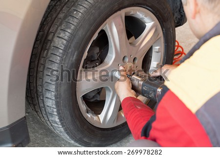 vulcanization work for the change of season rubber - stock photo