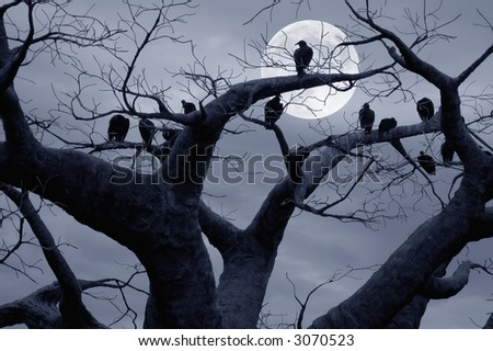 Vultures in a scary and spooky halloween scene. - stock photo