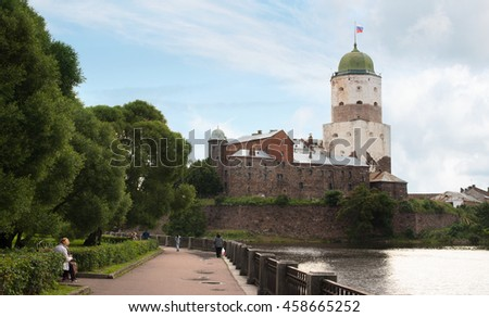 Vyborg, Russia - July 18, 2016: View of the Old Swedish tower of St. Olaf