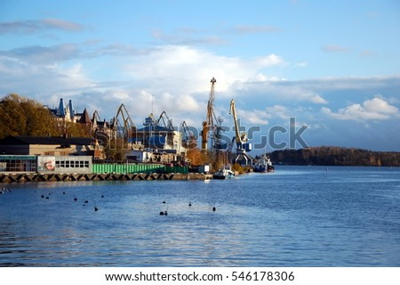 VYBORG, RUSSIA - OCT 20, 2011 - View on Vyborg sea port in autumn, Vyborg city,  Russia