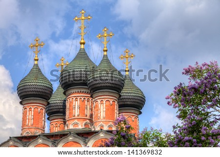 Vysokopetrovsky Monastery (High Monastery of St Peter) in Moscow - stock photo