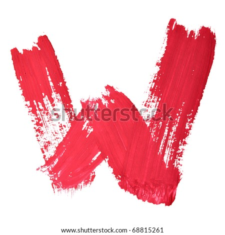 W - Red handwritten letters over white background