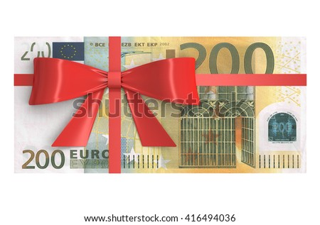 Wad of 200 Euro banknotes with red bow, gift concept. 3D rendering - stock photo