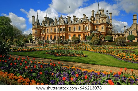 Waddesdon Manor and landscaped gardens in Buckinghamshire.  The house and gardens are open to the public in the spring and summer. England, 2016