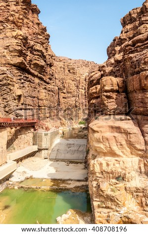 Wadi Mujeb, Jordan:The Mujib Reserve of Wadi Mujib (Mujeb) is the lowest nature reserve in the world, located in the mountainous landscape to the east of the Dead Sea - stock photo