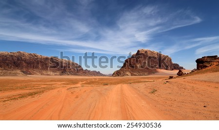 Wadi Rum Desert also known as The Valley of the Moon is a valley cut into the sandstone and granite rock in southern Jordan 60 km to the east of Aqaba