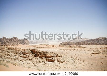 Wadi Rum desert in Jordan - stock photo