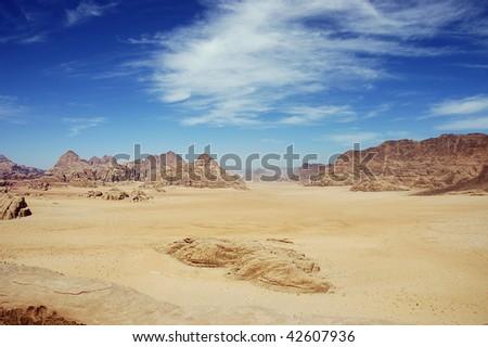 Wadi Rum. View from Burdah mountain. - stock photo