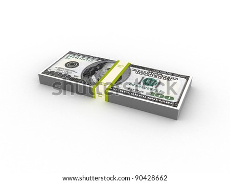 wads of dollars. 3d image. Isolated white background