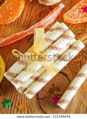 wafer and christmas decoration - stock photo